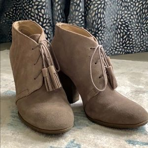 Women's Suede Booties with Tassle Laces